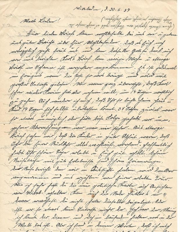 Caroline Emmel to Karl Emmel, May 5, 1939