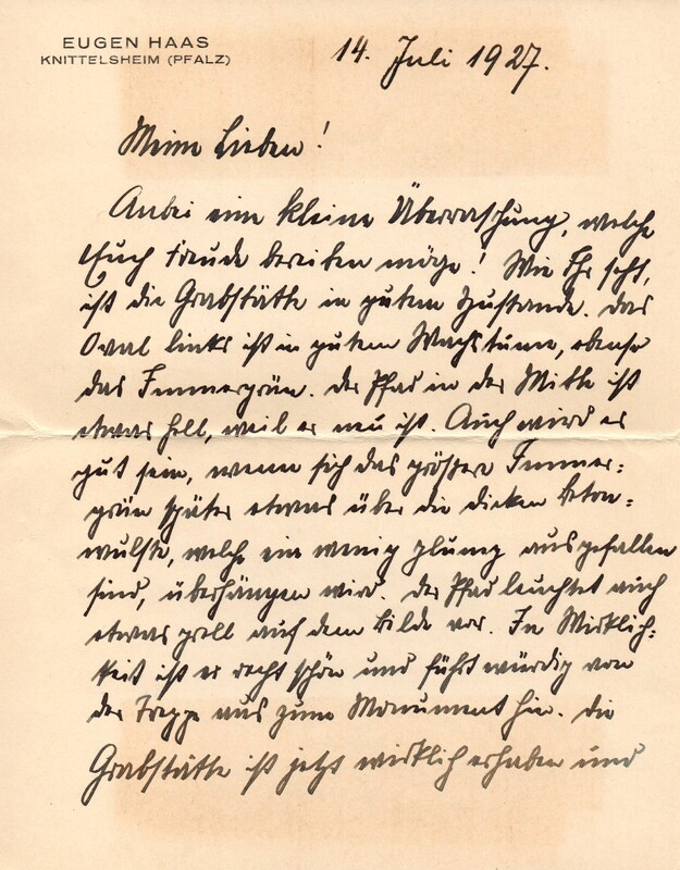 Eugen and Lisbeth Haas to Eugen Klee, July 14, 1927