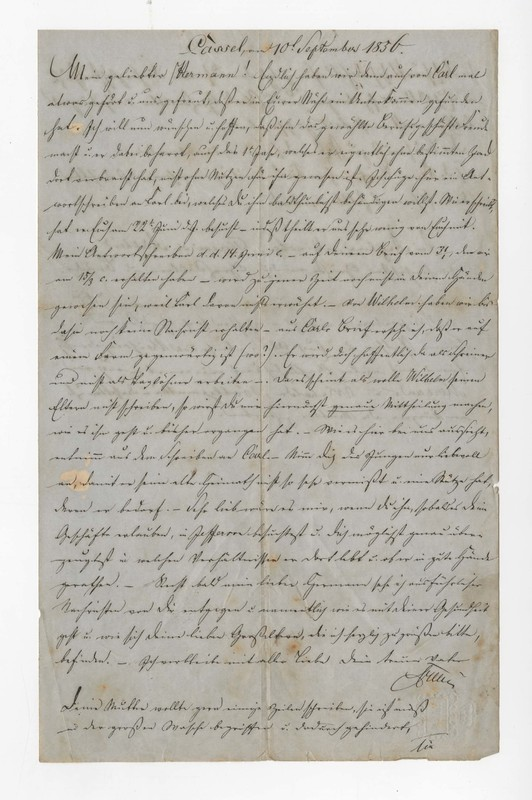 Heinrich and Clotilde Crede to Hermann Crede, September 10, 1856