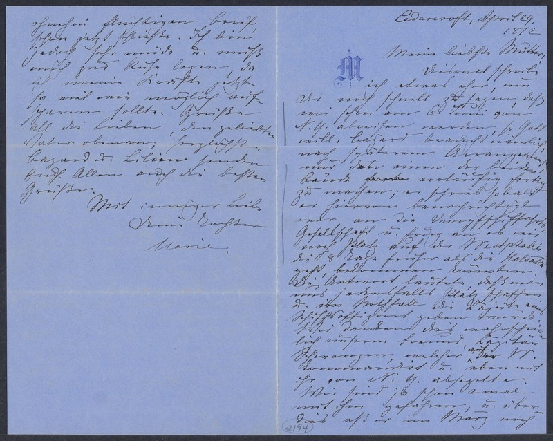 Marie Taylor to Lina Hansen, April 29, 1872