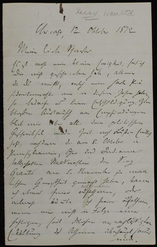 Hermann Raster to Sophie Raster, October 12, 1872