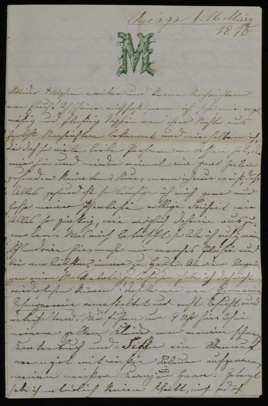 Margarethe Raster and Hermann Raster to Anna Oppenheim, March 16, 1870