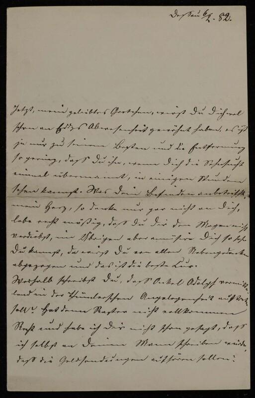 Anna Oppenheim to Margarethe Raster and Hermann Raster, February 6, 1882