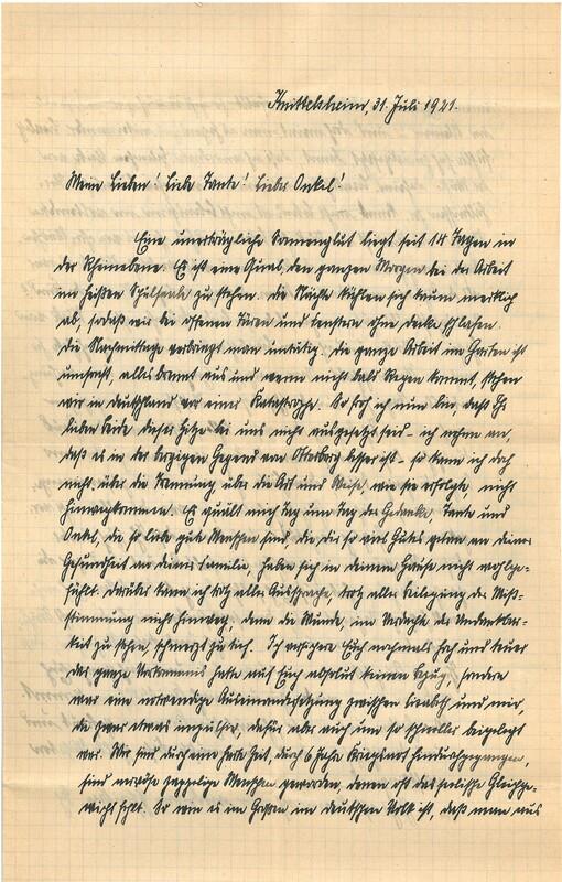 Eugen Haas to Eugen Klee, July 31, 1921
