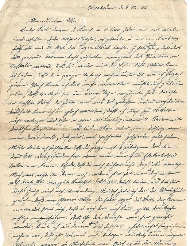 Caroline Emmel and Wilhelm Emmel to Karl Emmel, December 8, 1938