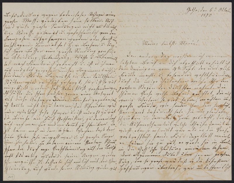 Lina Hansen to Marie Taylor, October 6, 1870