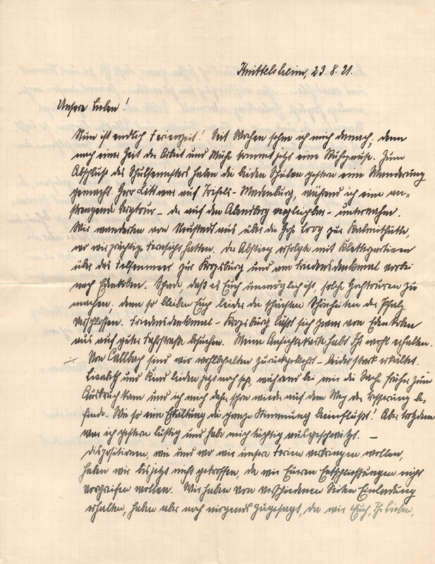 Eugen and Lisbeth Haas to Eugen Klee, September 23, 1921