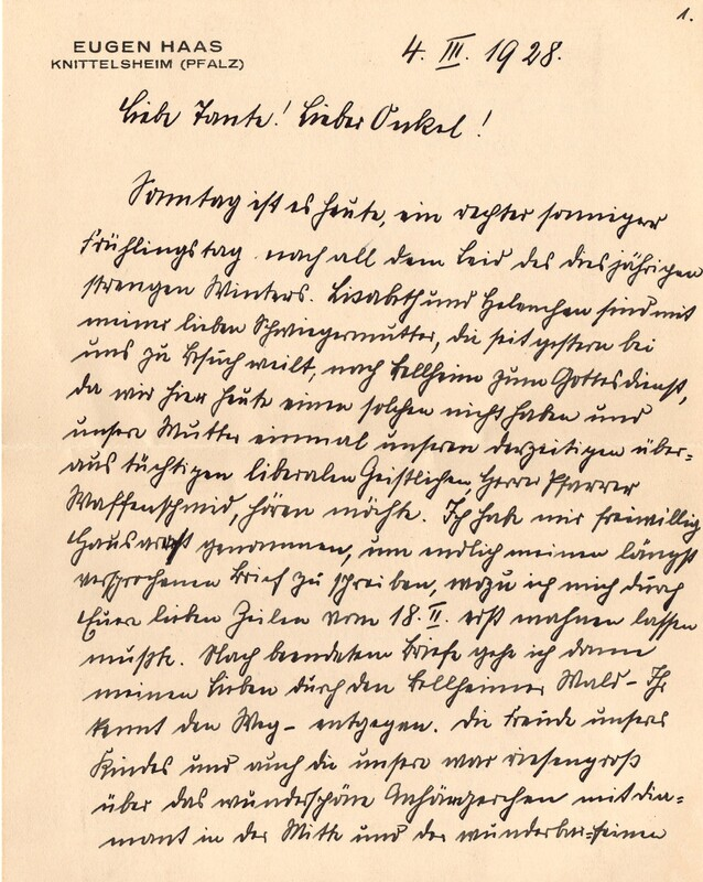 Eugen and Lisbeth Haas to Eugen Klee, March 4, 1928