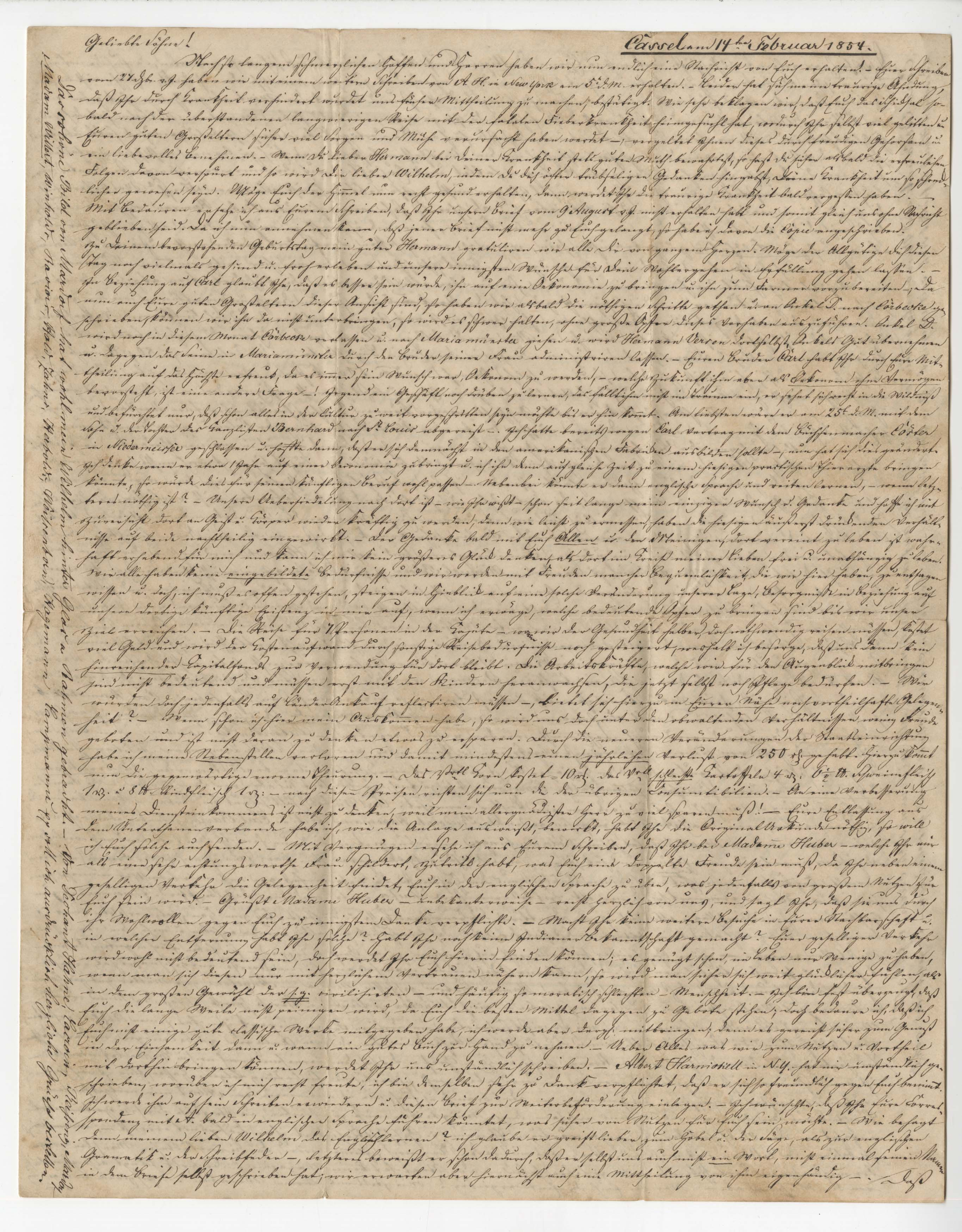 First page of February 1854 letter